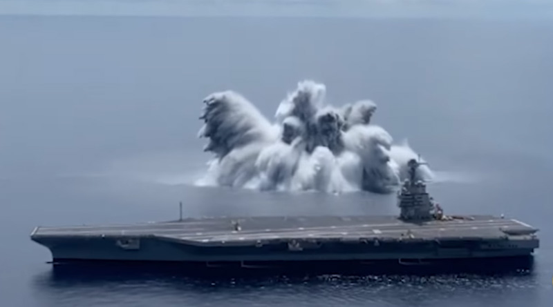 U.S. Navy sets off giant explosion to test USS Gerald R. Ford aircraft carrier | Sangbad Pratidin