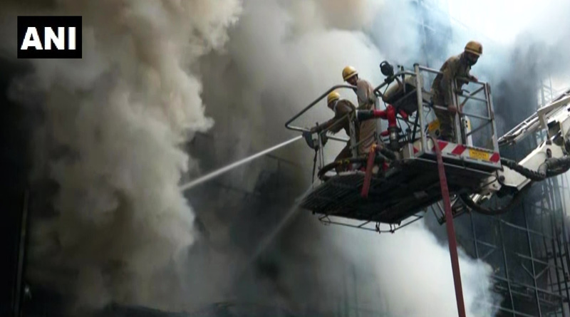 Firefighting operation underway at a clothing showroom in Lajpat Nagar, Delhi | Sangbad Pratidin