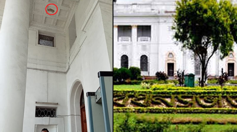 A section ceiling from West Bengal assembly entrance structure collapses | Sangbad Pratidin