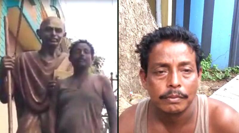 Gandhi Statue desecrated in Bardhaman, drunken man held   Sangbad Pratidin