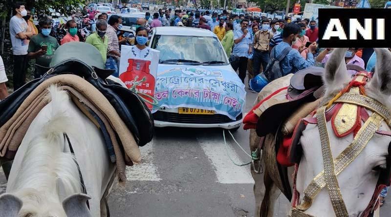 TMC workers protest against fuel price hike in Kolkata | Sangbad Pratidin