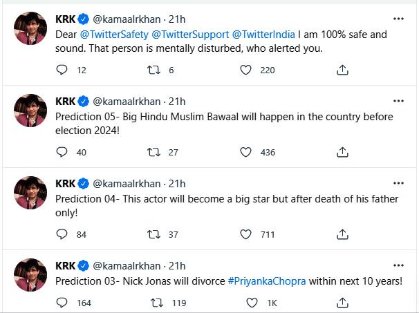 Predictions of KRK