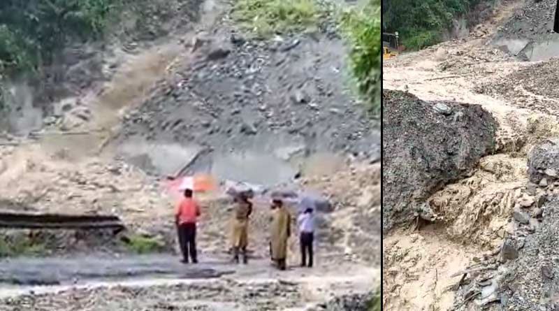 Due to heavy rain landslide on NH-10 cuts off Bengal-Sikkim road link । Sangbad Pratidin