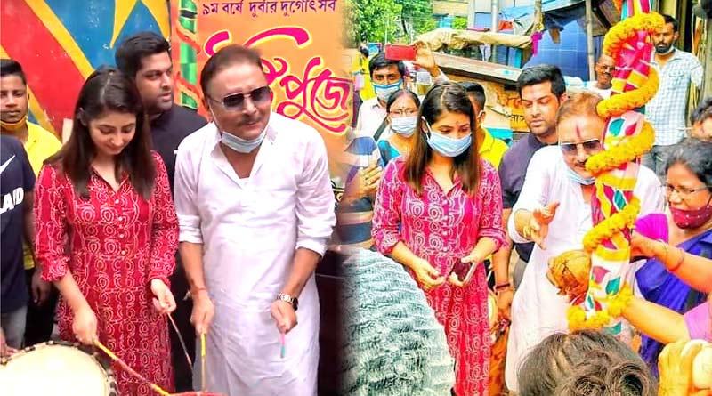 Madan Mitra and Tiyasha Roy took part at Khuti Puja of Durbar Committee Durga Puja   Sangbad Pratidin