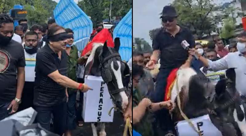 TMC MLA Madan Mitra stage protest over Pegasus issue | Sangbad Pratidin