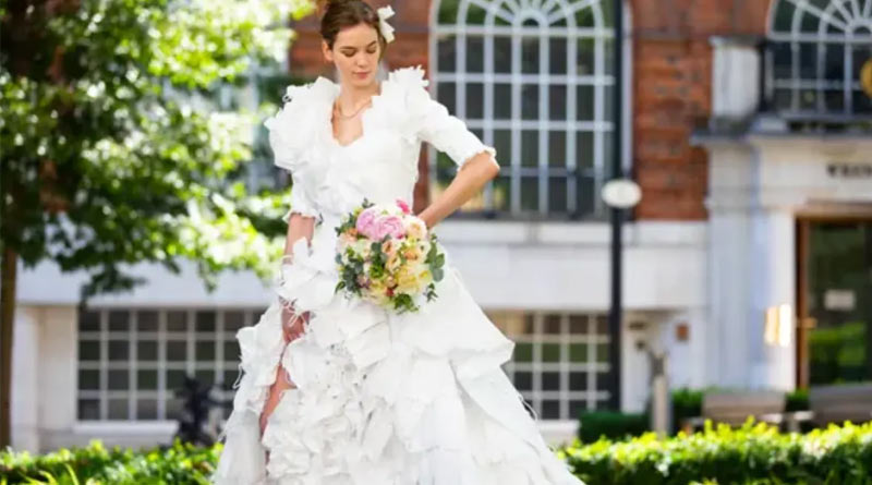 This wedding dress is made from 1,500 discarded face masks in UK
