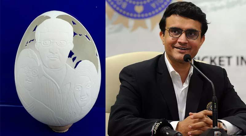 Young Artist of Kalna creates Former Indian Captain Sounrav Ganguly's miniature figure over Egg | Sangbad Pratidin