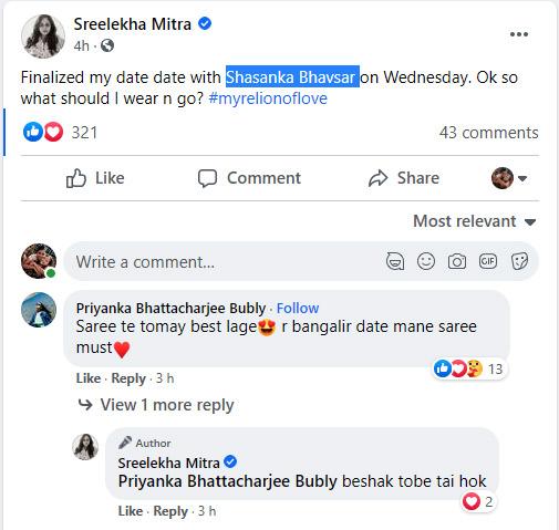 Sreelekha Mitra FB post