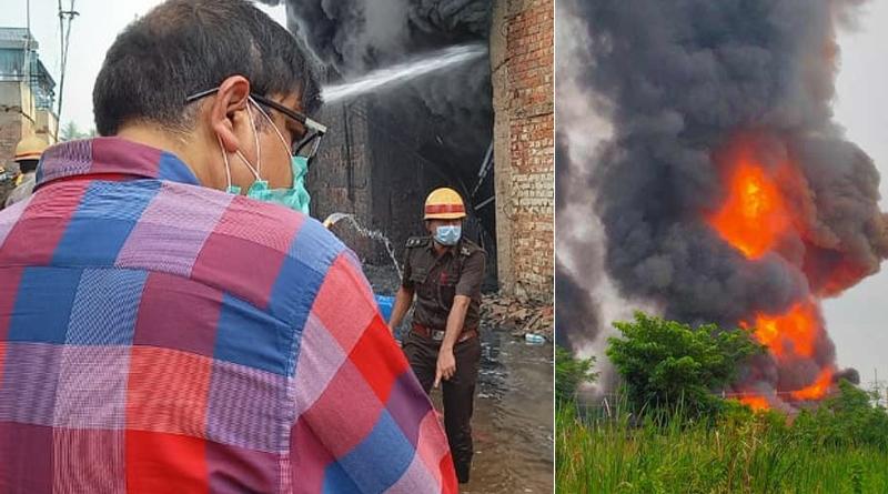 Fire in Maheshtala is still not under control, Minister Sujit Basu visited spot | Sangbad Pratidin