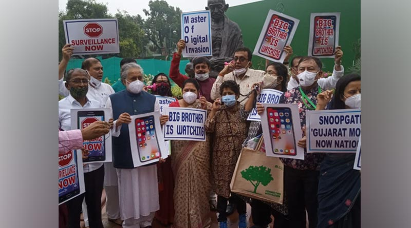 Pegasus Row: TMC MPs stage protest outside Parliament house with placards in hands