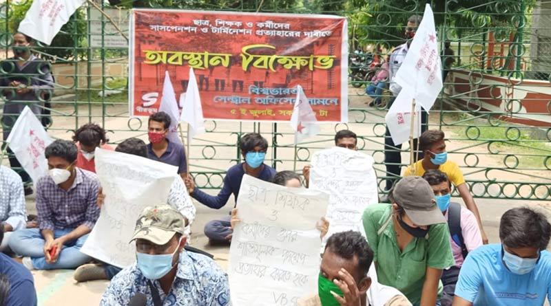 People of Bolpur get disturbed as the road near Vishva Bharati kept close due to students' protest | Sangbad Pratidin