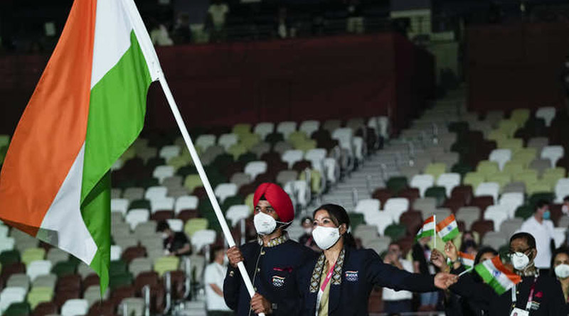 India's contingent led by Mary Kom & Manpreet Singh in Tokyo Olympics 2020 Opening ceremony | Sangbad Pratidin