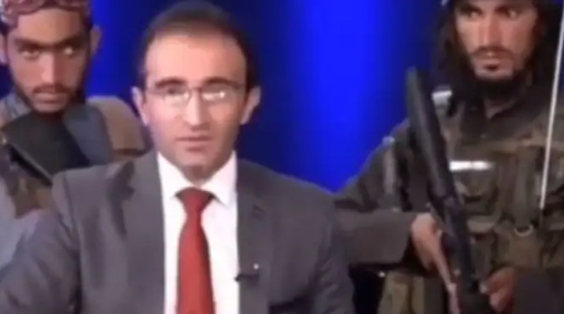 TV anchor in Afghanistan at gun point forced to praise Taliban, video goes viral | Sangbad Pratidin
