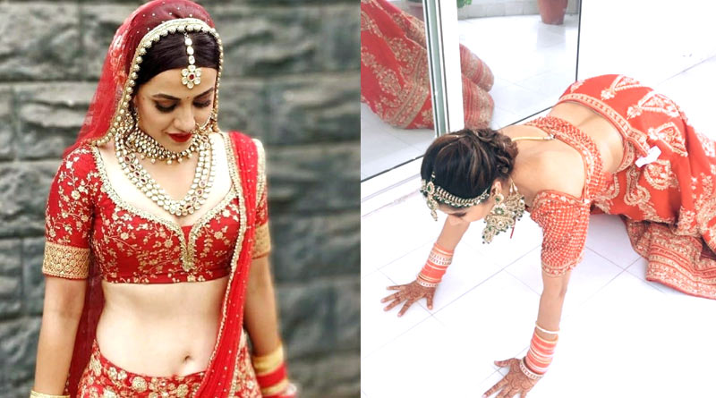 Bride did Push-ups wearing Wedding Lehenga, video goes viral | Sangbad Pratidin