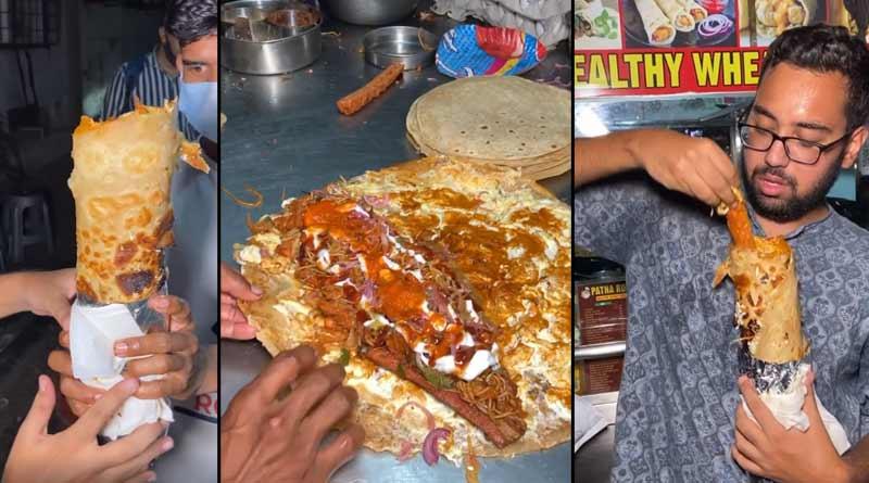 Two feet long egg chicken roll is now viral in social media । Sangbad Pratidin