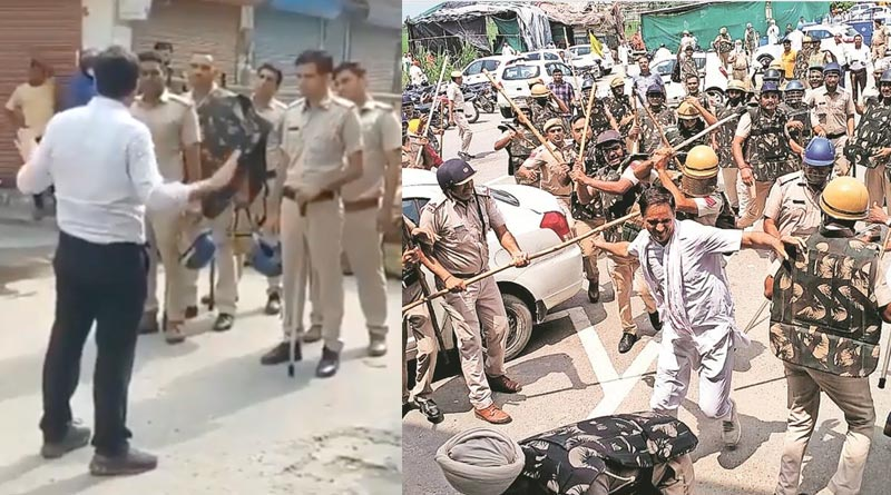 Haryana Official caught coaching cops to crack Farmers Protestor's head   Sangbad Pratidin
