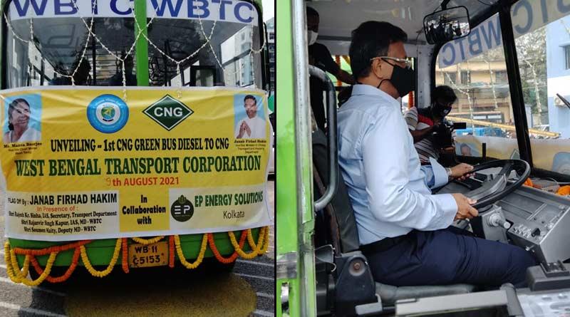 Kolkata gets first eco-friendly CNG run bus, minister Firhad Hakim himself drives | Sangbad Pratidin