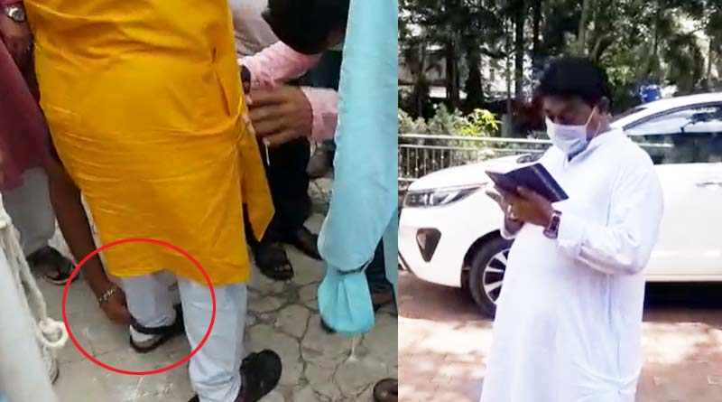 TMC MLA gets shoelace tied from party worker at Bardhaman, West Bengal | Sangbad Pratidin