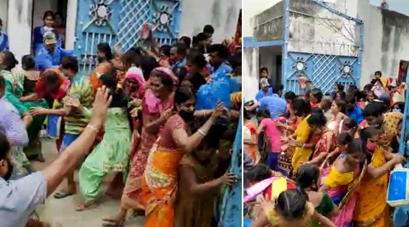Stampede at Malda as crowed storm 'Lakshmir Bhandar' form distribution centre | Sangbad Pratidin