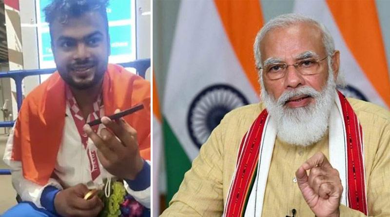 PM Narendra Modi calls with Paralympic gold medalist। Sangbad Pratidin