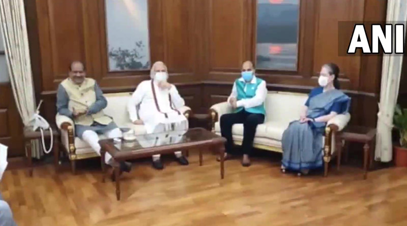 Narendra Modi and Congress president Sonia Gandhi were both in Speaker Om Birla's room for a meeting | Sangbad Pratidin