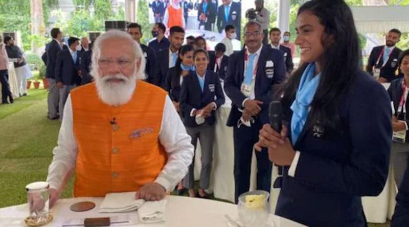 PM Narendra Modi keeps his Promise of Ice Cream with star shuttler PV Sindhu। Sangbad Pratidin