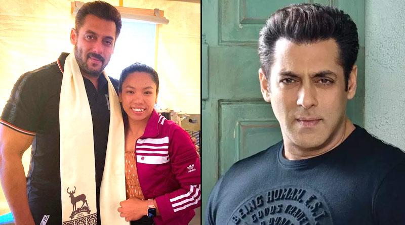 Salman Khan trolled for wearing deer printed sash while meeting Mirabai Chanu   Sangbad Pratidin