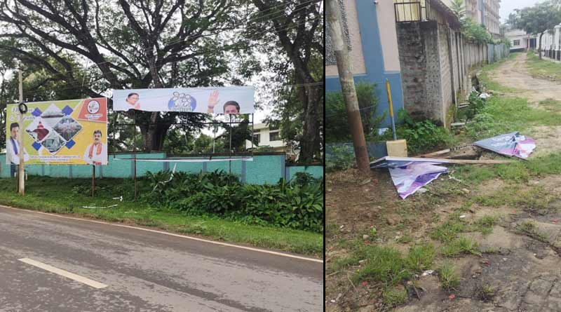 Banners, flex of TMC torn at Agartala just before Abhishek Banerjee's visit there, BJP is accussed | Sangbad Pratidin