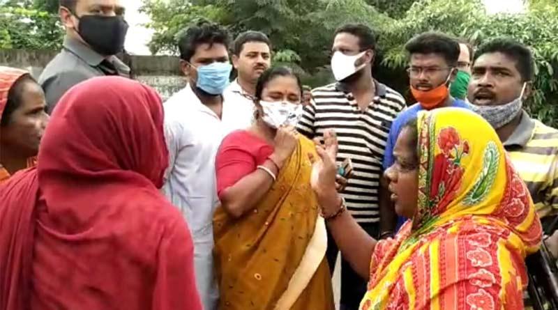 Local people stage protest infront of BJP MLA Tapasi Mandal in Haldia, West Bengal | Sangbad Pratidin