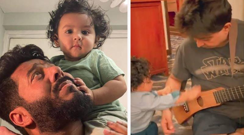 Celebrity couple Raj Chakrabarty and Subhashree's son Yuvaan's Video goes Viral | Sangbad Pratidin