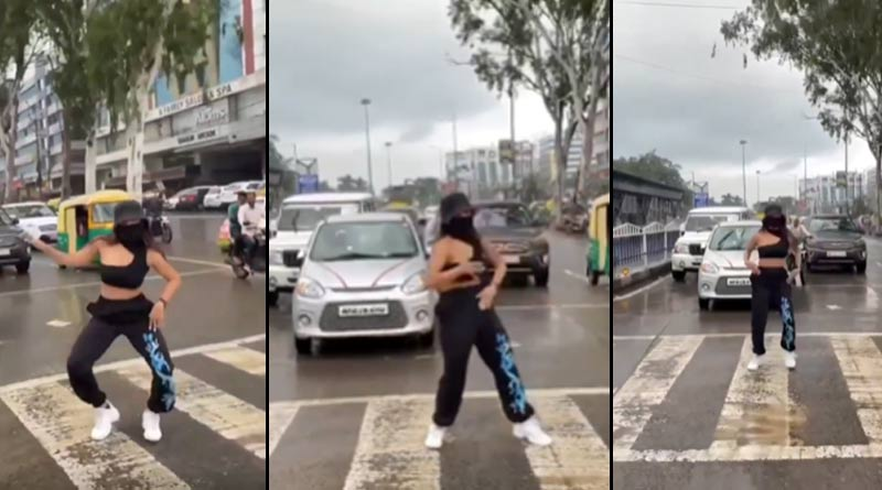 Woman dance at a busy intersection in Indore, video viral in social media । Sangbad Pratidin