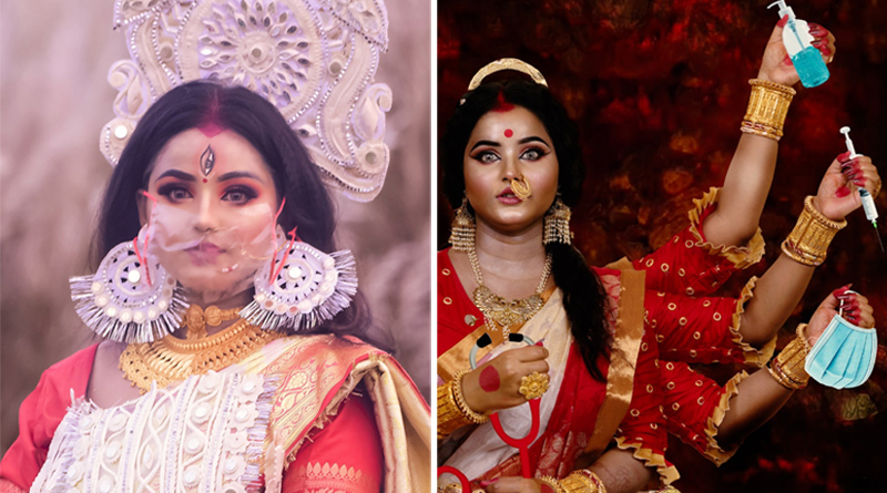 A girl from burnpur goes viral with her bridal durga look | Sangbad Pratidin