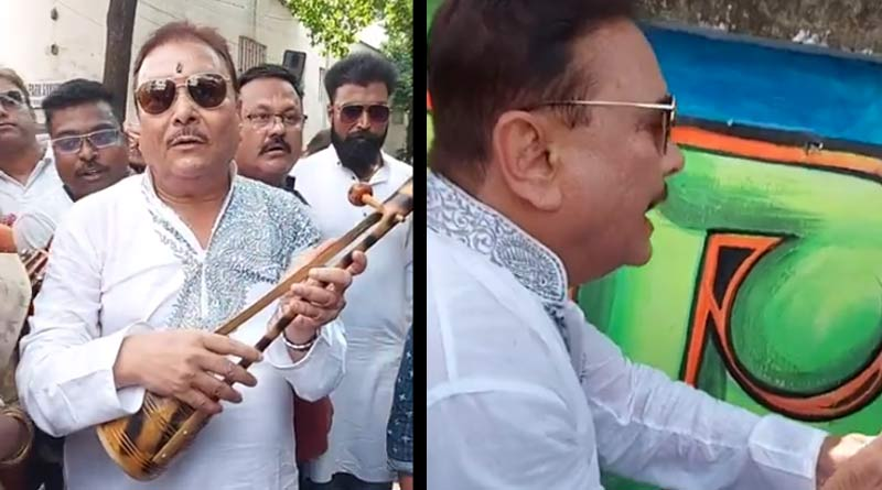 WB By elections: Madan Mitra starts campaign at Bhabanipur for Mamata Banerjee by singing folk song and wall painting | Sangbad Pratidin