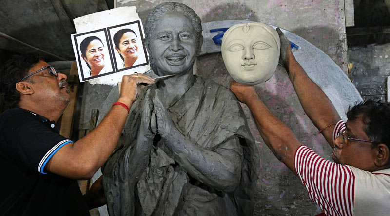 Durga Puja 2021: Durga idol resembling Mamata Banerjee sparks row   Sangbad Pratidin