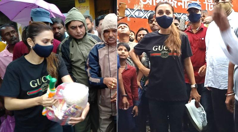 Actress-MP Mimi Chakraborty visits water locked Bhangar after heavy rain at Bengal | Sangbad Pratidin