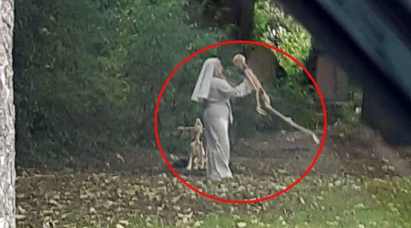 Nun dances with skeleton in Hull general cemetery, footage viral in social media । Sangbad Pratidin