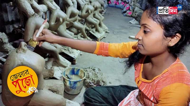Durga Puja 2021: Daughter of idol maker at Raigunj has to find work outside Bengal despite having factory inhouse | Sangbad Pratidin