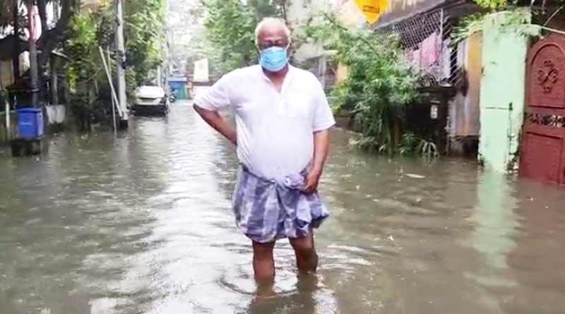 TMC leader Sougata Roy takes stock of flooded area as heavy rains lashes Kolkata | Sangbad Pratidin