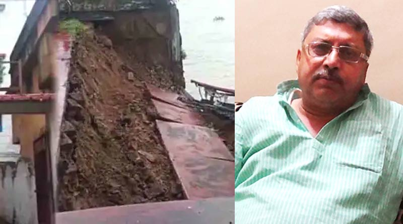 A part of appartment of TMC MP Kalyan Banerjee collapsed due to heavy rain at Serampore | Sangbad Pratidin