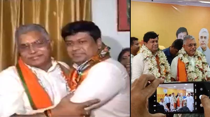 BJP state president Sukanta Mazumder praises his former, Dilip Ghosh on his first working day | Sangbad Pratidin