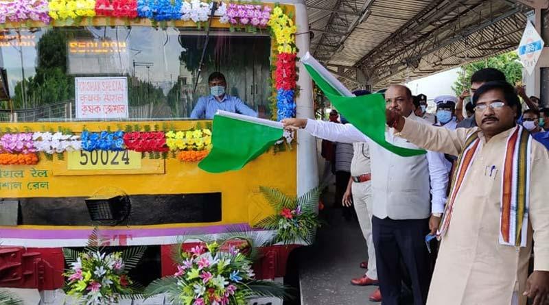 BJP MP Jagannath Sarkar flags off Krishak Special train | Sangbad Pratidin