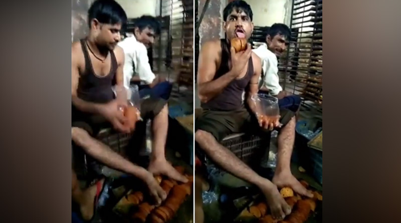 Workers put dirty feet on toasts and lick them in shocking viral video | Sangbad Pratidin
