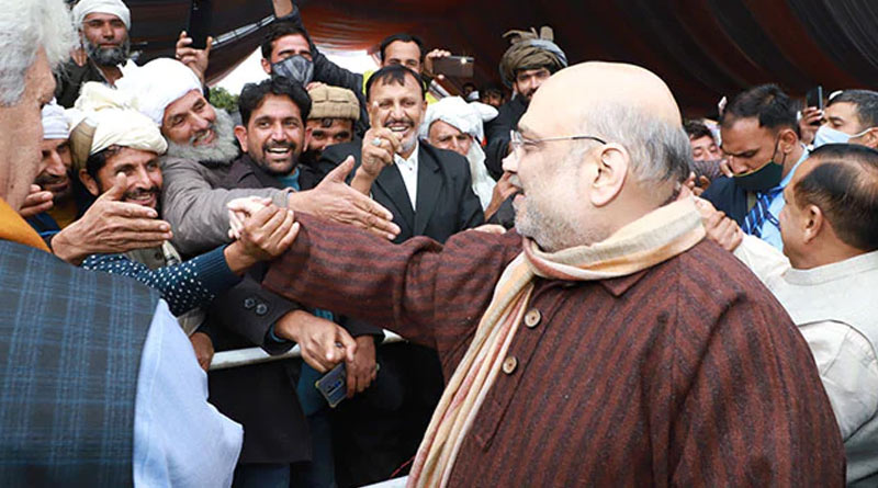 HM Amit Shah removes bulletproof shield in Srinagar | Sangbad Pratidin