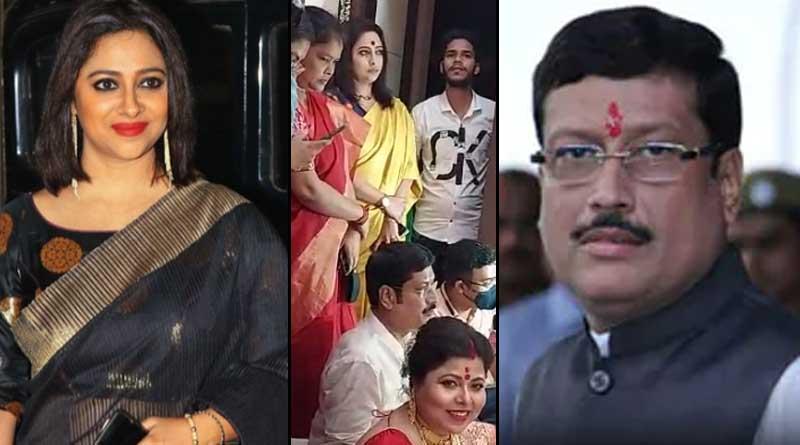 BJP leader Anjana Basu visits TMC leader Sabyasachi Dutta's house on laxmi Puja | Sangbad Pratidin