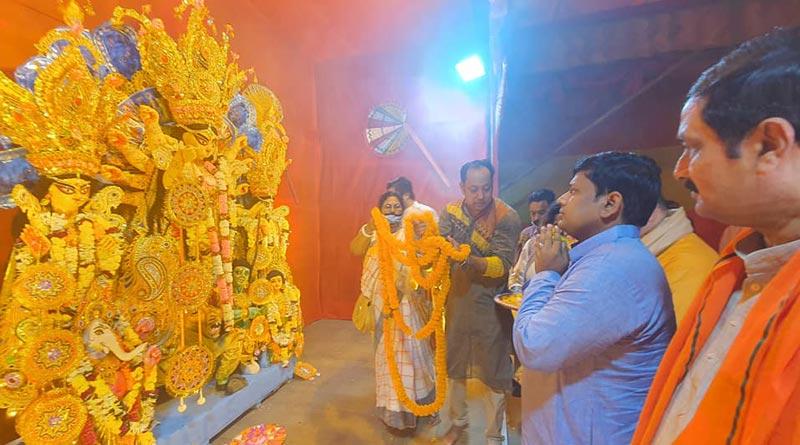 BJP State president Sukanta Majumdar inaugurates Durga Puja