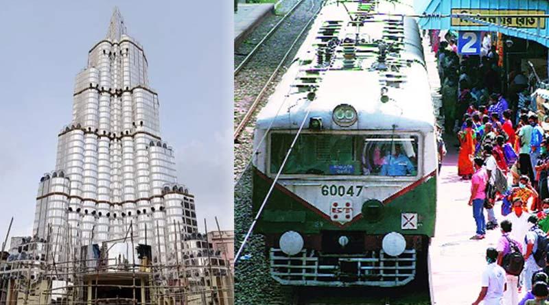 Railways cancel several Durga Puja special trains to control rush towards Sreebhumi Sporting pandal depicting Burj Khalifa | Sangbad Pratidin
