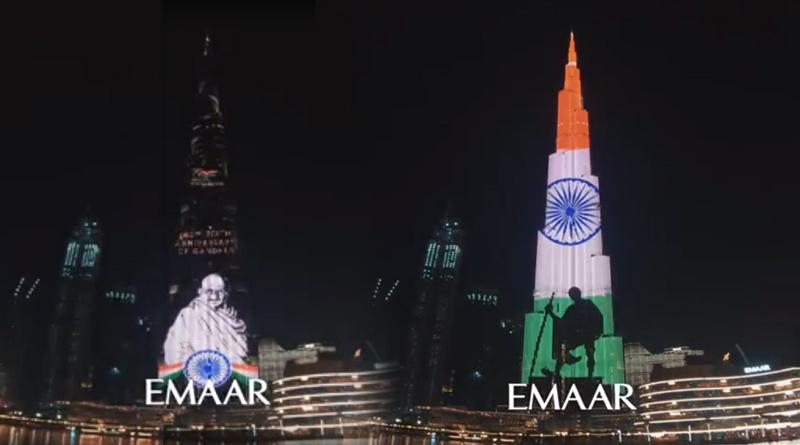 Burj Khalifa Lights Up With Mahatma Gandhi's Image On His Birth Anniversary | Sangbad Pratidin