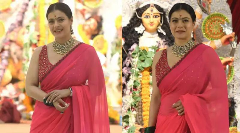 Actress Kajol breaks down on meeting uncles at Durga Puja pandal | Sangbad Pratidin