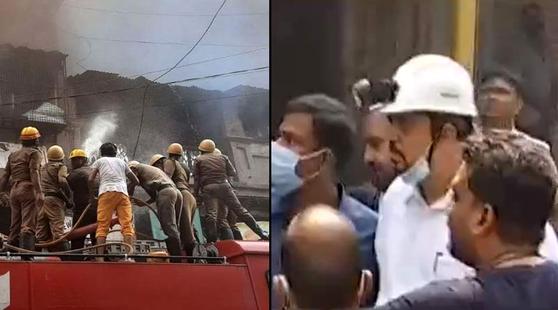 West Bengal Minister Sujit Basu feels ill while visiting the fire site at Kolutola Street | Sangbad Pratidin