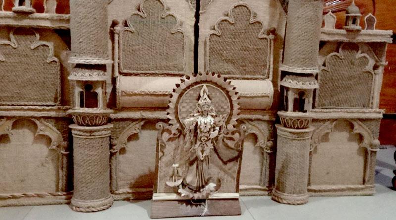 Teacher from Purulia made Lakshmi Idol with Banana leaves | Sangbad Pratidin